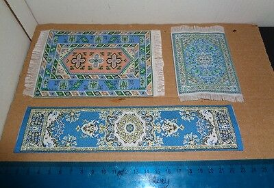 Job Lot Dolls House Blue Carpet Rugs Mats Embroidery 12th Scale Bundle