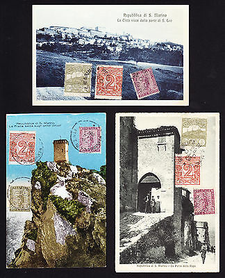 Cancelled to Order stamps on THREE 1920s Rep Di San Marino postcards Italy