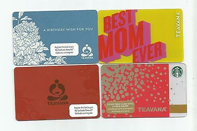 4 Teavana / Starbucks Gift  Cards Lot  Collectible  All different