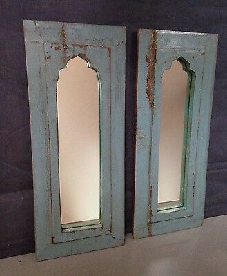 Antique/vintage Indian Temple Mirrors, Large Pair. Art Deco. Faded Blue Grey.
