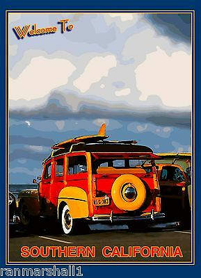 Welcome to Southern California Beach United States Travel Advertisement Poster