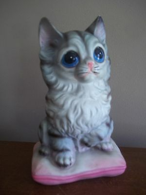 VTG hand painted TABBY grey TIGER striped mackerel KITTY CAT big eyes keane BANK