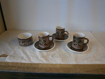 Rye Pottery Cinque Ports Coffee Cups / Cans Saucer x3 Sugar Bowl Brown