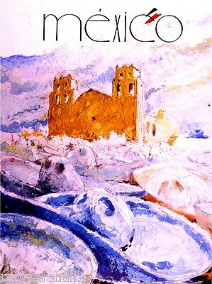 Mexico Mexican Ruins Sombrero Vintage  Travel Advertisement Art Poster
