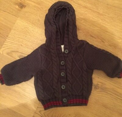 Gap Baby Boy Chunky  Cable Knitted Cardigan Grey  6-12 M Grey Hooded Warm