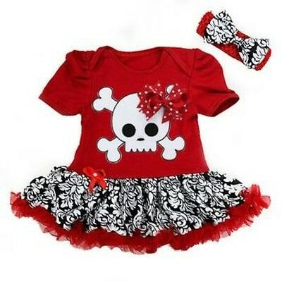 Red skull skirted romper goth alternative punk goth rock metal baby clothes