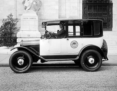 """1922 Black & White Taxi and Driver Vintage Photograph 8.5"""" x 11"""" Reprint"""