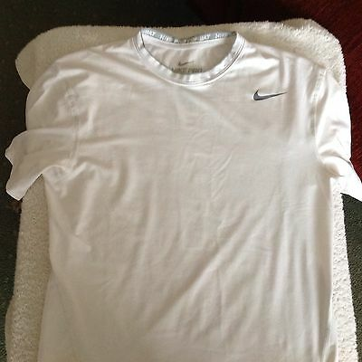 White Nike Pro Combat Dri-fit Compression S/Sleeved Base Layer Large FREE POST