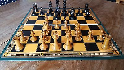 """Superb Large Printed Folding Chess Board based on Antique design with 2"""" squares"""