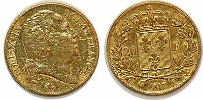 Louis Xviii 20 Francs Or 1817 A  G.1028 Paris Gold