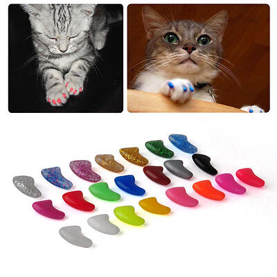 20pcs Pet Dog Cat Soft Charm Rubber Nail Paw Claw Caps Grooming + Adhesive Glue