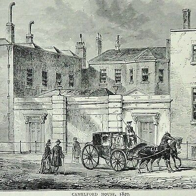 19th Antique Wood Engraving 'Camelford House, 1820'