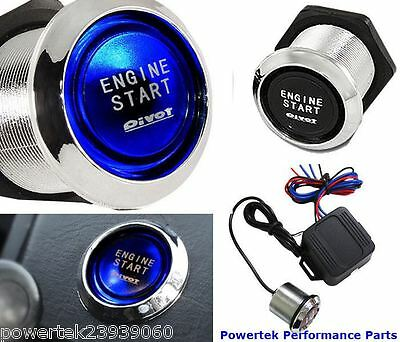 12v Blue Illuminated Universal Push Start Button Ignition Engine Starter Switch