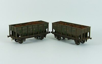 Two Weathered Em/4mm  20ton Hopper Wagons 'Consett Iron Co Limited'
