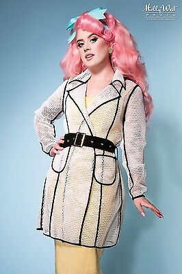Awesome Rockabilly Pinup Girl Clothing Nifty & Netted Mesh Coat White Size L New