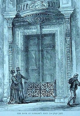 19th Antique Wood Engraving 'The Door of Sadler's Hall'