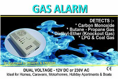 Gas Alarm Detector for Caravans & the Home - Detects LPG, CO & Knockout Gases