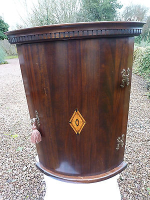 Antique Mahogany Bow Fronted Inlaid Corner Cabinet
