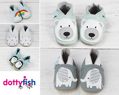 Dotty Fish Unisex Soft Leather Baby and Toddler Shoes with non slip Suede Soles
