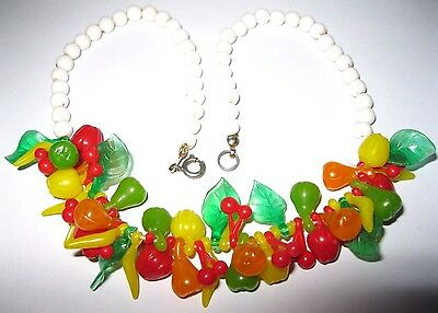 Pretty VINTAGE 1950s FRUIT SALAD Early Plastic Celluloid Bead Jewellery NECKLACE