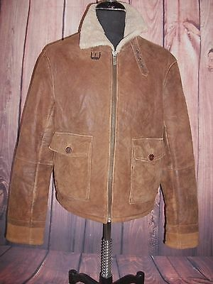 Vintage Netherlands  Aviator Style Sherpa Lined Distressed Flight Jacket Size L