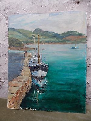 Penryn Quay Cornwall Original Oil Painting on Canvas Signed Tonkin Vintage