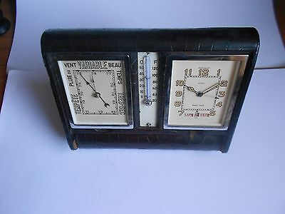 Jaeger Le Coultre Clock Weather Station Triple Date 8 Days Crocodile Big Measure