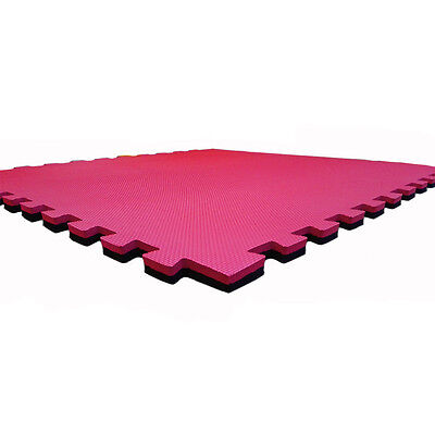 FXR EVA BLACK RED FLOOR MAT GYM MATS YOGA INTERLOCKING 1m x 1m x 20mm  EXERCISE