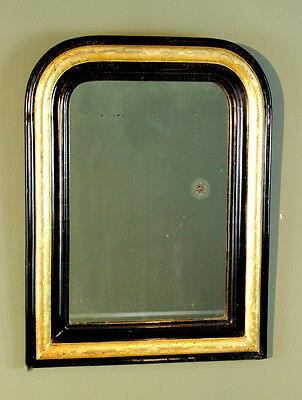 Antique French Black Laquer and Lemon Gold Archtop Louis Philippe Mirror