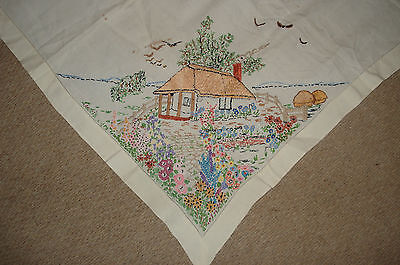 Vintage Tablecloth Hand Embroidered Cottage & Flowers