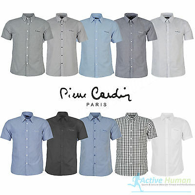 Mens Designer Pierre Cardin Short Sleeve Shirt Check Stripe Plain S M L XL XXL
