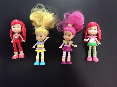 4 Strawberry Shortcake Polly Pocket Figures 2008 Hasbro