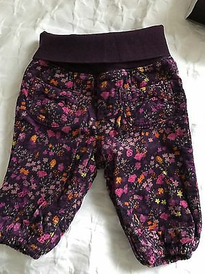 H&M Girls Purple Floral Trousers 2-4m
