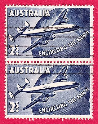 Australia Stamps. 1958 Round the World 2 Shillings Pair. SG301. Used. #2496
