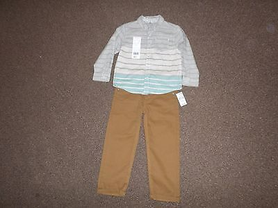 BNWT Boys Long Sleeved Shirt Trousers F&F Primark Grey Brown Outfit 2-3 Years