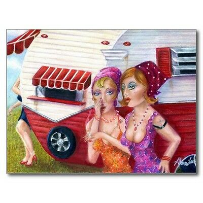 """*Postcard-""""2 Young Ladies Have Conversation beside Small RV/Trailer"""" (A-26)"""