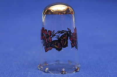 Handpainted Butterfly & Birds Slight Wear To Gold Hence Price Glass Thimble B/44