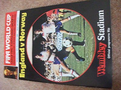 England Norway World Cup Qualifier    September  1980 Programme