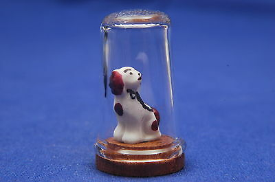 Victorian China Dog Inside Glass Thimble B/44