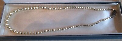 Vintage Pearl Necklace With Sterling Silver Clasp 16""