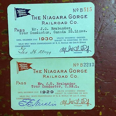 1929-30 The Niagara Gorge Railroad Company Tour Guide Passes