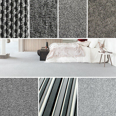 Quality Grey Carpets - Cheap Rolls Brand New Carpet - Loop, Twist, Saxony Piles