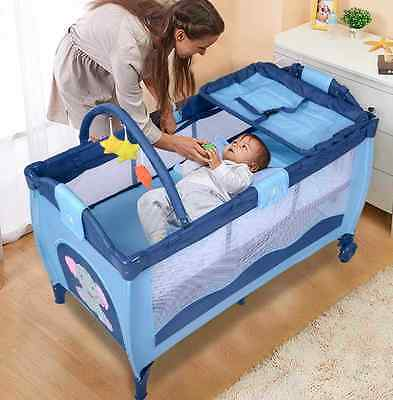 Playpen Baby Travel Cot Bed Kids Infant Folding Bassinet Play Pen Cribs Entryway