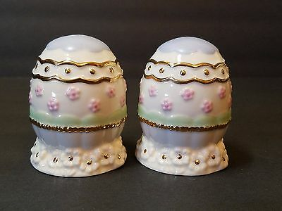 Lenox Porcelain Ceramic Easter Egg Gold Holiday Decoration Salt & Pepper Shaker