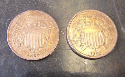 Lot Of Two (2) U.s. Two Cent Pieces 1864 & 1865