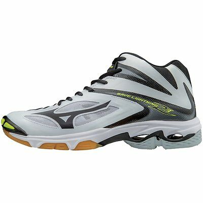 Mizuno Men's Wave Lightning Z3 Mid Volleyball Shoes - White & Black - 430227