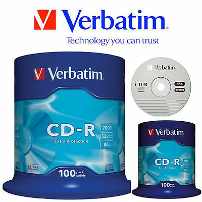CD-R Blank Discs 52x CD 700MB Extra Protection 80 min- 100 Pack Spindle Verbatim