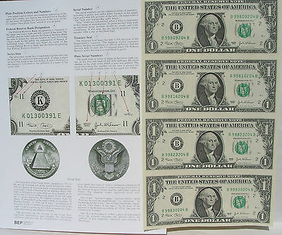 2 SALE: USA$1x 4 UNCUT SHEET,Series 2009 Real Paper Money & Infor.+One Old Cent