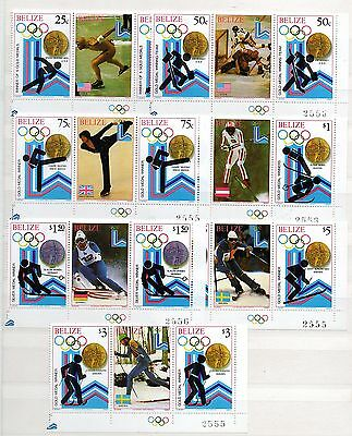 Belize (987) 1980 Winter Olympic games . Medal winners set in pairs with panal