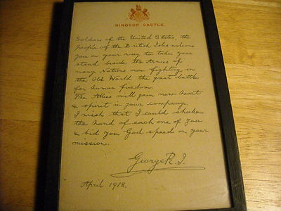 Letter From King George V To Pow 1918 Framed